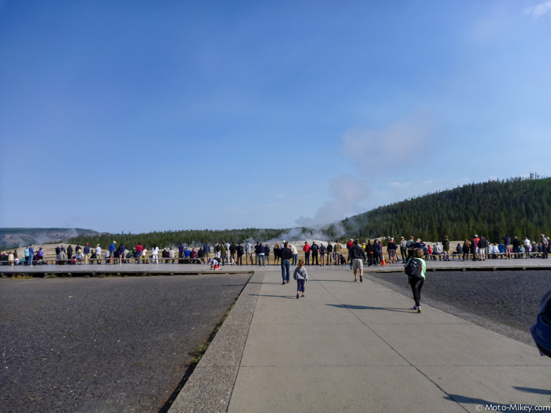 Walking up to Old Faithful. The crowd is already gathering in anticipation