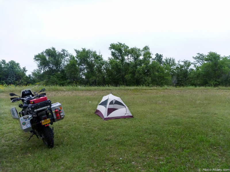 Grassy field campground I stayed in the night before