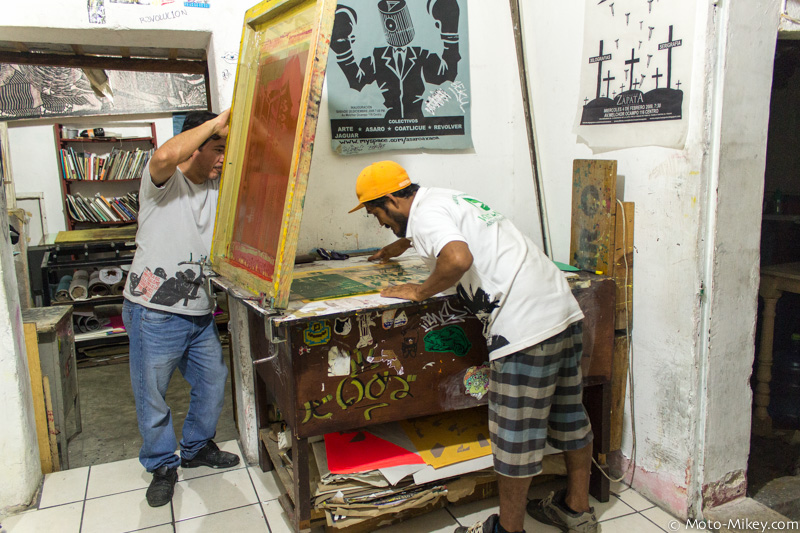 Some local artists screen printing