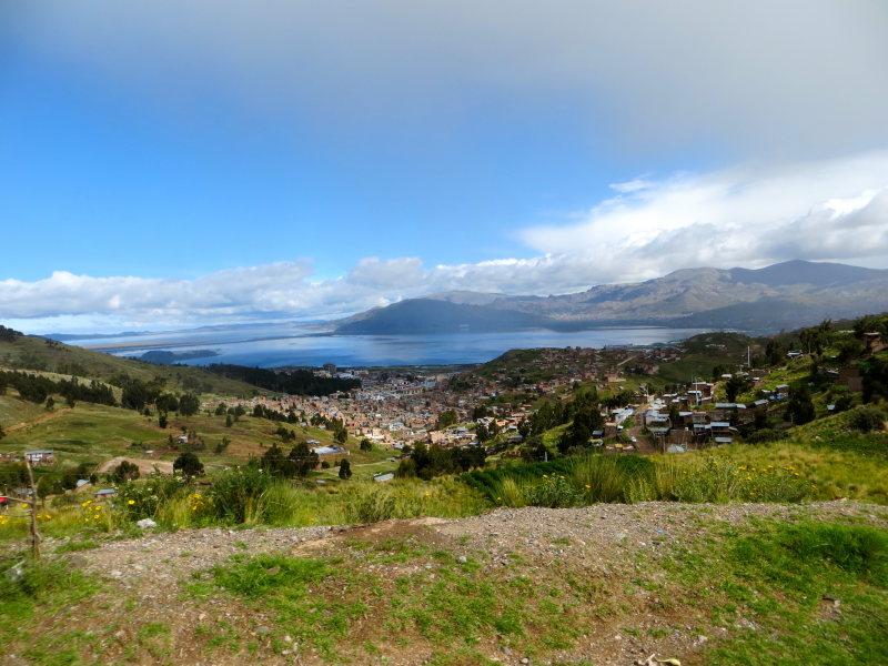 The city of Puno and Lake Titicaca in the distance.
