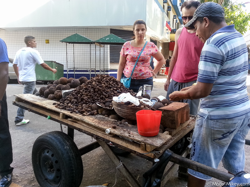 Street vendor selling fresh Brazil nuts.